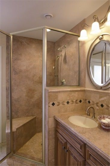 How to use solid surface materials for shower installations. No grout lines, much more hygenic than tile, marble or granite.