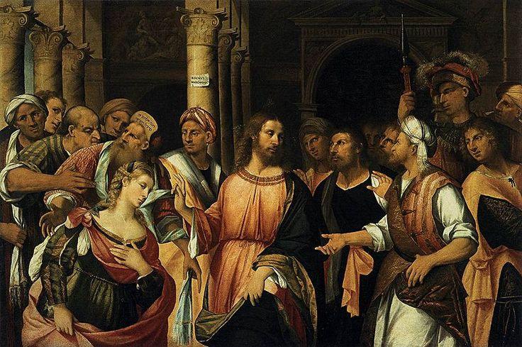 Rocco Marconi-Christ and the Adulteress, 1525 г.,Рокко Маркони (англ.Rocco Marconi, 1490-ок.13.05.1529) ит.венец.худ.эпохи ренессанса,предст.венец.шк.живописи.На работах подписывался как Rochus Marchonus.Счит.учеником Джованни Беллини,позже учился у Пальма Веккьо.