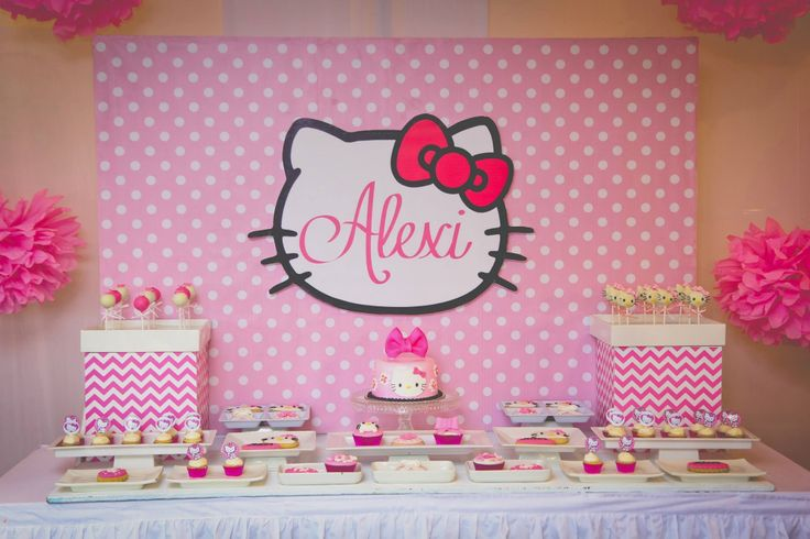 Alexi 39 s hello kitty themed dessert table lia 39 s party for Table exterieur hello kitty