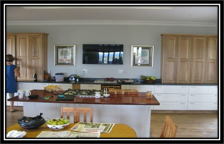 MDF Sprayed with solid Oak counter units designed to house appliances (food mixers, blenders etc)