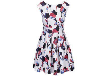 Bílé šaty s červenými a modrými květy Closet