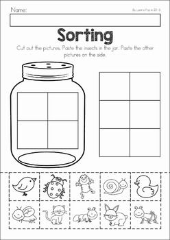 Spring Preschool No Prep Worksheets & Activities. A page from the unit: bug sorting cut and paste