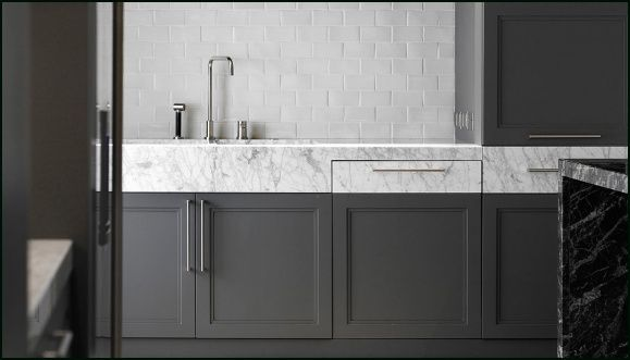 subway tiles wall, marble table top, french cabinet door