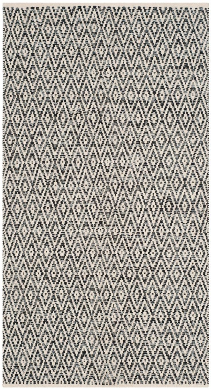 """Features:  -Material: 100% Cotton pile.  -Pile Height: 0.25"""".  Rug Shape: -Rectangle.  Primary Color: - Ivory and Dark Gray.  Technique: -Hand woven.  Material: -Cotton.  Product Type: -Area Rug. Dime"""