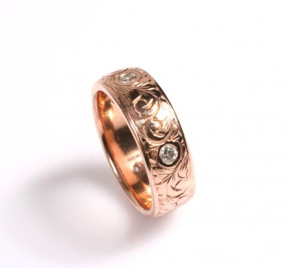 Diamonds set in Rose Gold with Hand Engraving | Love and Hatred