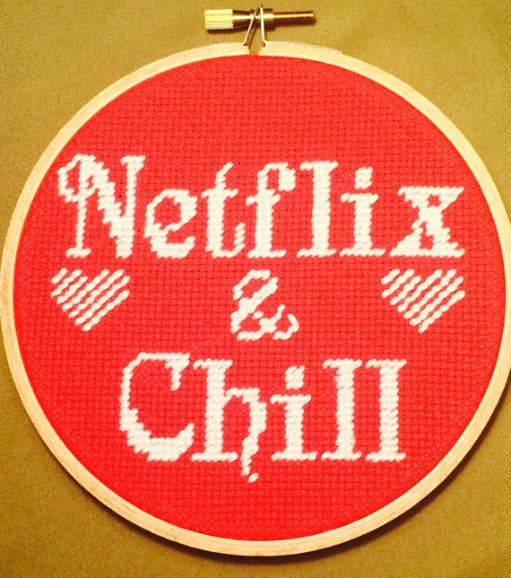 Netflix and Chill Funny Handmade Needlepoint by stitchedbycandy