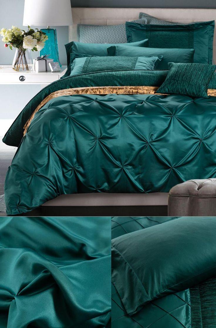 Doona Cover Set Twin Full Queen Luxury Silk Green Bedding