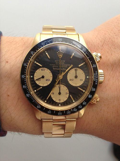 hodinkee:    Rolex Daytona ref. 6263 gold Tiffany and Co. dial. - JM