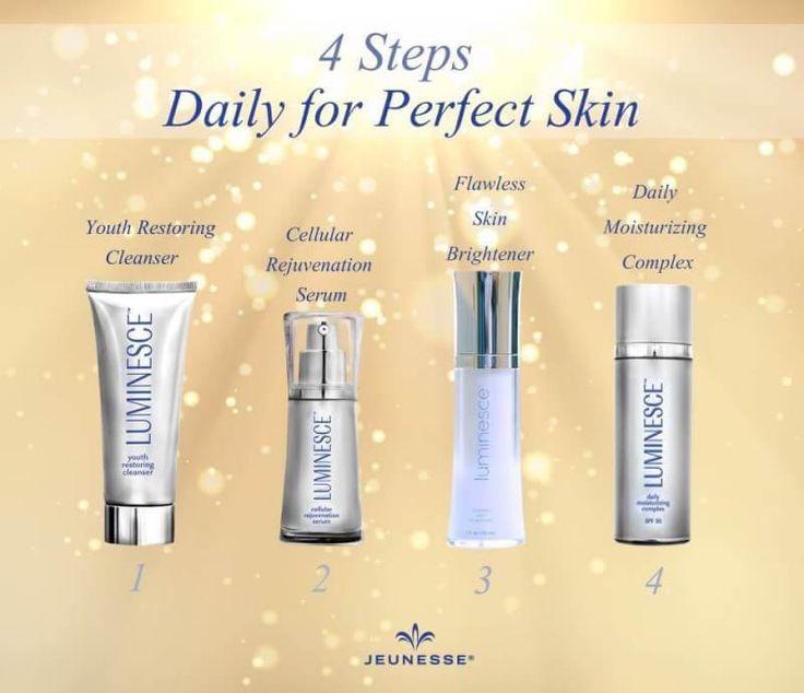 4 ขั้นตอนในทุกๆเช้ากับผลิตภัณฑ์ Luminesce เพื่อผิวแลดูสวยสมบูรณ์แบบ 1. Youth Restoring Cleanser เพื่อผิวสะอาดหมดจด เตรียมพร้อมรับการ บำรุง 2.Cellular Rejuvenation Serum เซรั่มเข้มข้นบำรุงผิวให้แลดูเนียนเรียบ พร้อมช่วยให้ริ้วรอยแลดูตื้นขึ้น 3. Flawless Skin Brightener ลดเลือนจุดด่างดำ เพื่อผิวแลดูเปล่งปลั่ง กระจ่างใสอย่างเป็นธรรมชาติ 4. Daily Moisturizing Complex SPF 30 ครีมบำรุงที่ช่วยลดเลือนริ้วรอย และให้ความชุ่มชื้นแก่ผิว พร้อมทั้งปกป้องผิวคุณจากแสงแดด