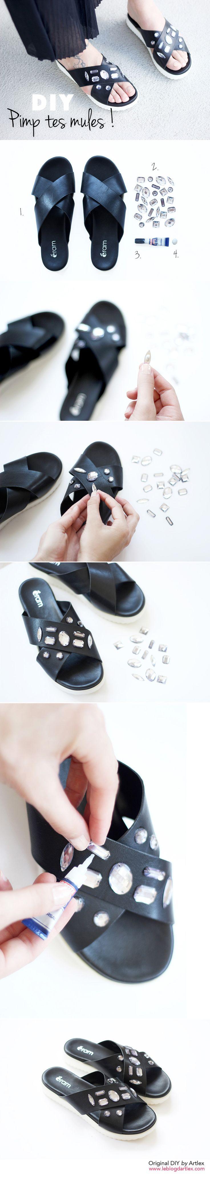 DIY shoes // sandals DIY // DIY mules // mules bijoux // Mules à strass // sandales bijoux // blog Mode DIY Artlex w/ @eram_shoes