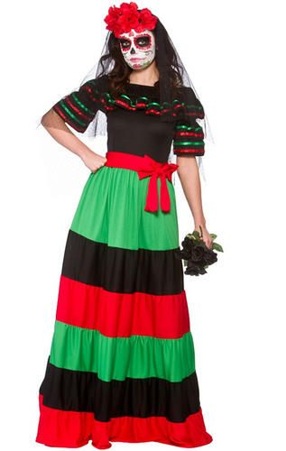 Day of The Dead Ladies Fancy Dress Mexican Undead Adults Womens ...