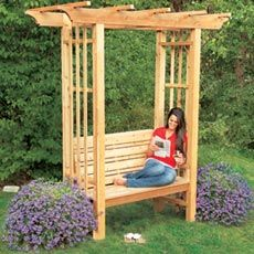 How to Build an Arbor Bench: Gardens Ideas, Arbors Benches, This Old Houses, Outdoor, Beautiful Backyard, Finish Arbors, Building Projects, Backyard Building, Photo