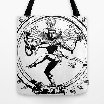 Natraj Dance - Mono Tote Bag by Vee Ladwa - $22.00