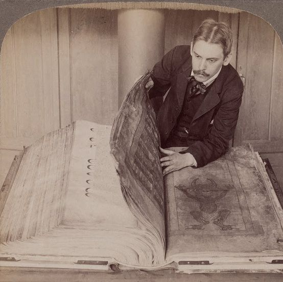 """The Codex Gigas. The largest medieval manuscript in existence, created by a single scribe in the early 13th century. Sometimes called """"The Devil's Bible"""" because of a large unexplained picture of him. Lavishly illustrated. Just the writing alone, not counting the illustrations, would have taken five years of constant writing to complete"""