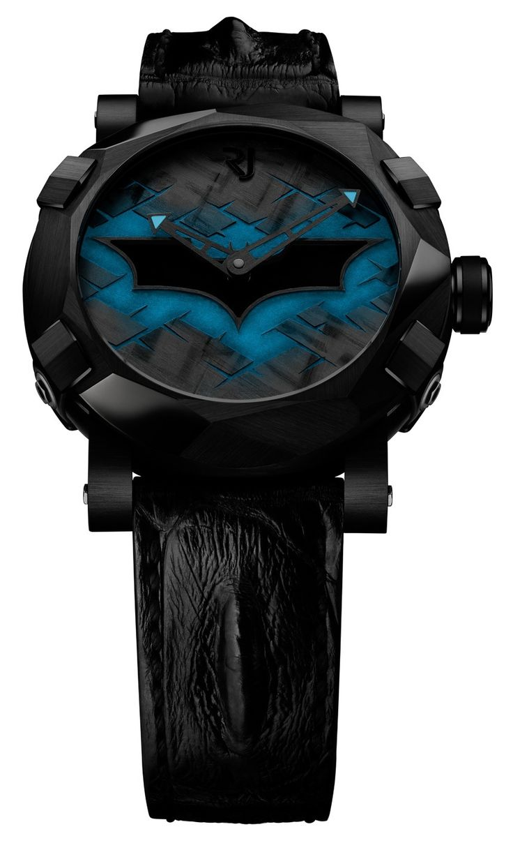 """Romain Jerome Batman DNA Watch Debut - by Ariel Adams - where does he get these wonderful toys? See & read more about the latest bat-watch on aBlogtoWach.com """"For the 75th Anniversary of Batman, Swiss Romain Jerome has partnered with DC Comics to produce the Batman-DNA collection of limited edition watches. There is one version of the watch, and it is limited to just 75 pieces, with a Batman logo on the dial and case shaped with angles on the bezel to remind of the Batmobile..."""""""