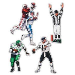 """Football Figures.  These Football Figures Cutouts come printed both sides and in 8 team colours. The package includes 4 cutouts measuring 20"""", giving you a lot of decorating for your next football theme party or Super Bowl Bash."""