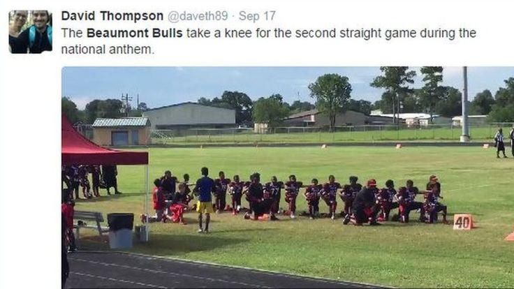 Several high school and university sports team players join Colin Kaepernick in…