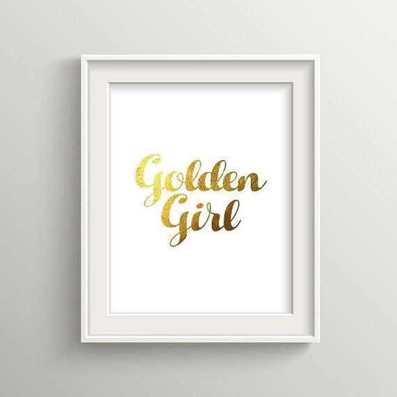 Golden Girl Typography Art Print for Home by BekareCreative