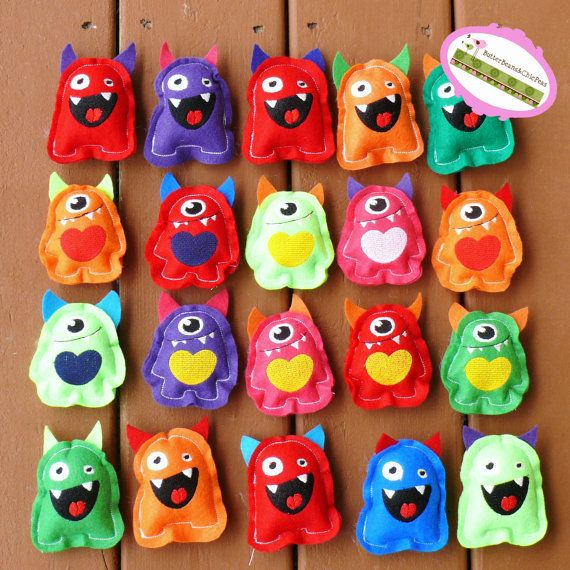 Monster Party Favors  Set of SIX Teeny Tiny by ButterBeansChicPeas, $33.20