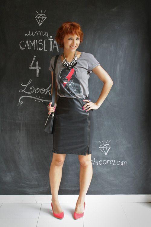 Blog De repente Tamy |camiseta com saia lápis um de quatro look com a mesma peça versatilidade