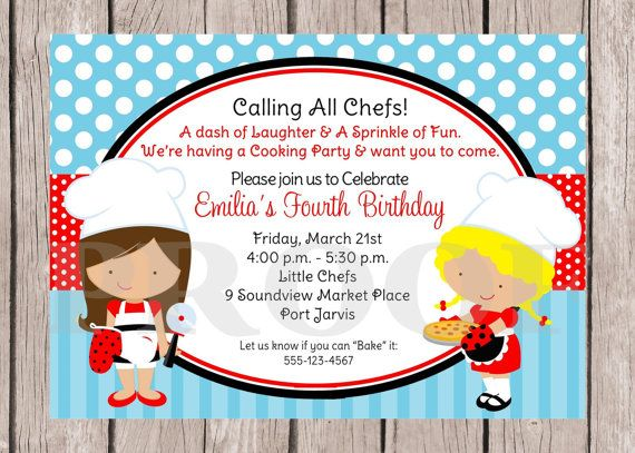 PRINTABLE Little Chef Birthday Party Invitation Pizza Cooking Baking Choose Hair Color Boy Or Girl Red And Teal Blue You Print
