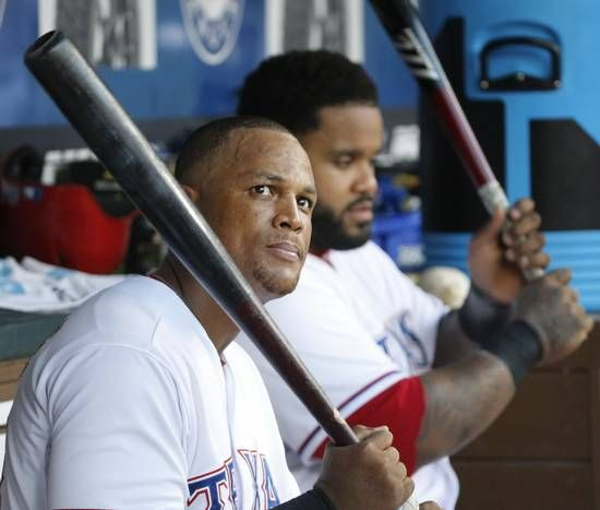 Texas Rangers third baseman Adrian Beltre (29) and Texas Rangers designated hitter Prince Fielder (84) wait for their turns at bat in the fifth inning during the Oakland Athletics vs. the Texas Rangers major league baseball game at Globe Life Park in Arlington, on Tuesday, June 23, 2015. (Louis DeLuca/The Dallas Morning News)