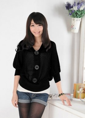 Single Breasted Knitting Ladies Cardigans Black : Wholesaleclothing4u.comStyle, Knitting, Cardigans Black, Lady Cardigans, Breast Knits, Knits Lady
