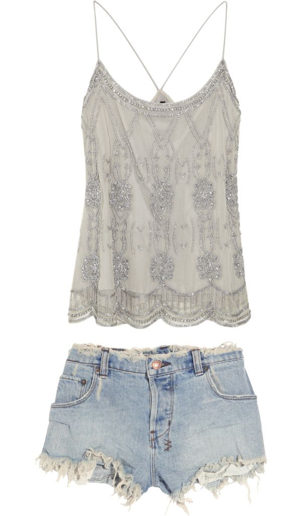 YCute summer outfit... vintage beading in an everyday outfit? yes please.