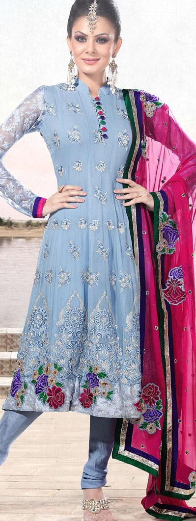 $121.65 Blue Full Sleeve Faux Georgette Long Anarkali Salwar Kameez 18296