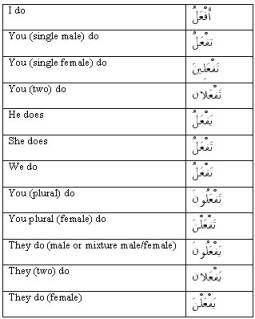 Present tense verb conjuation