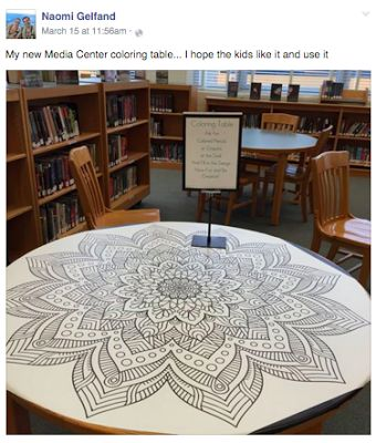 Awesome idea! A coloring table creates a beautiful, interactive space for students. This post has great resources for purchasing giant coloring sheets.