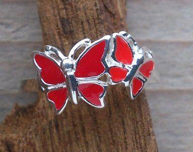 zilveren vlinder ring