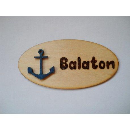 Balaton hűtőmágnes kék hajó horgonnyal díszÍtve