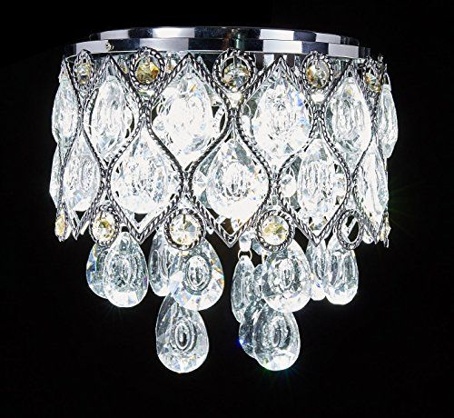 New Galaxy Modern LED Crystal Chandelier Chrome Metal Shade Flushmount Ceiling Lighting Fixture,