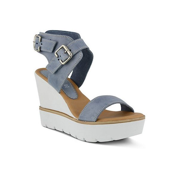 Spring Step Womens Leticia Buckle Sandal (77 CHF) ❤ liked on Polyvore featuring shoes, sandals, denim blue, wide wedge sandals, platform sandals, blue platform sandals, wedge sandals and wide sandals