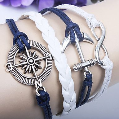 Multilayer Alloy Anchor Infinite Charms Handmade Leather Bracelets - USD $ 1.39