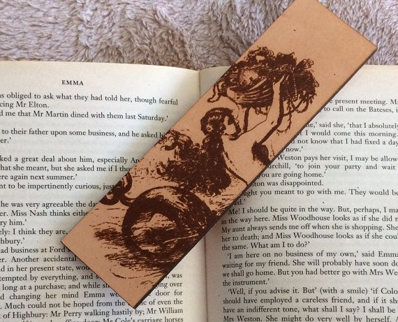 Leather Mermaid Bookmark  Historical by RavenKingCrafts on Etsy