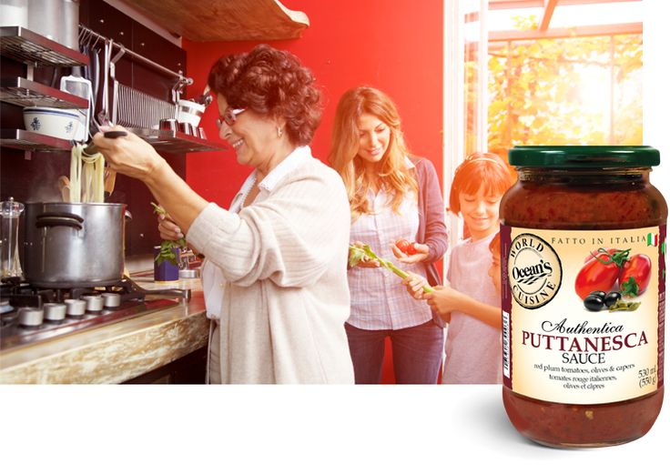 Puttanesca is a unique Italian pasta sauce originally sourced from the island of Ischia. The sauce has a very strong, unique flavour profile enhanced by the presence of black olives and capers. Puttanesca was first served in a popular Italian night spot in the 1950's. #fromtheheartofitaly #oceansworldcuisine #fromtheheartofitaly #oceansworldcuisine #allnatural #glutenfree