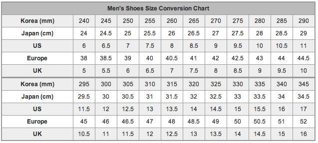 mizuno shoes size table in usa eu us