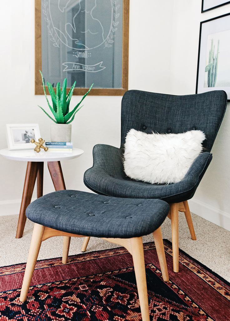 A Mid-Century Modern Nursery Chair for your little one's space. Transform this space into a reading nook for later when they are old enough for bedtime stories.
