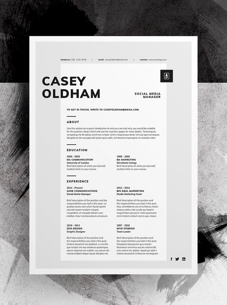 Professional, Modern Resume/CV Design With Free matching Cover Letter template. #resume #cv #template