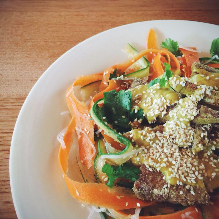 Crispy Satay Tempeh with Carrot + Cucumber Noodle Salad. Sensational! Week 7 #iqs8wp #iqs #iquitsugar #iqsjerf #vegetarian