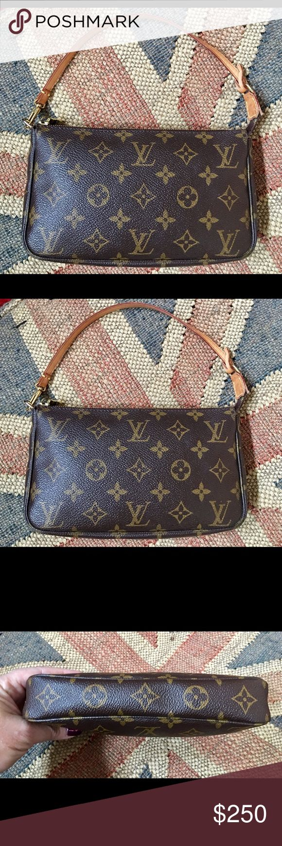 Louis Vuitton Monogram Pochette 💖Firm💖 This is an authentic Louis Vuitton monogram Pochette handbag. There is still a lot of life left in this cute little bag. Unhooks from one side to clip into another handbag if desired. Measures 9 inches long by 6 inches tall by 2 inches deep. Monogram material is pristine with no marks or tears or rips. some wear on the handle strap as you can see in photos. No trades please. Price firm. Louis Vuitton Bags