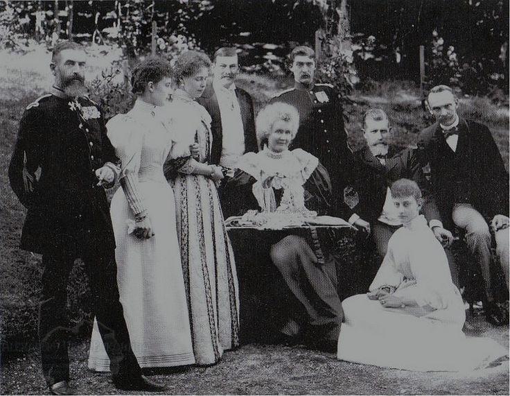 Regele Carol I, Regina Elisabeta, Principii Moștenitori Ferdinand și Maria, Leopold de Hohenzollern s.a. 1895.