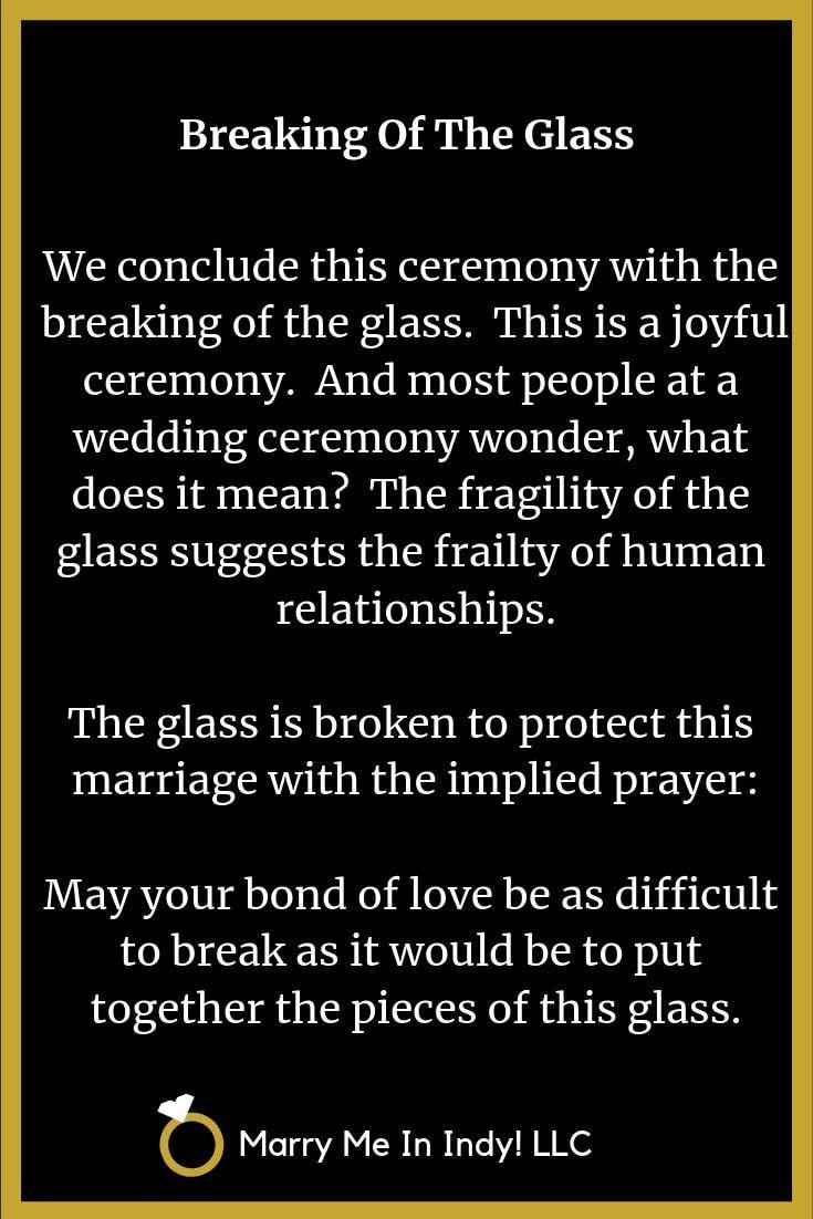 Jewish breaking of the glass wedding ceremony script