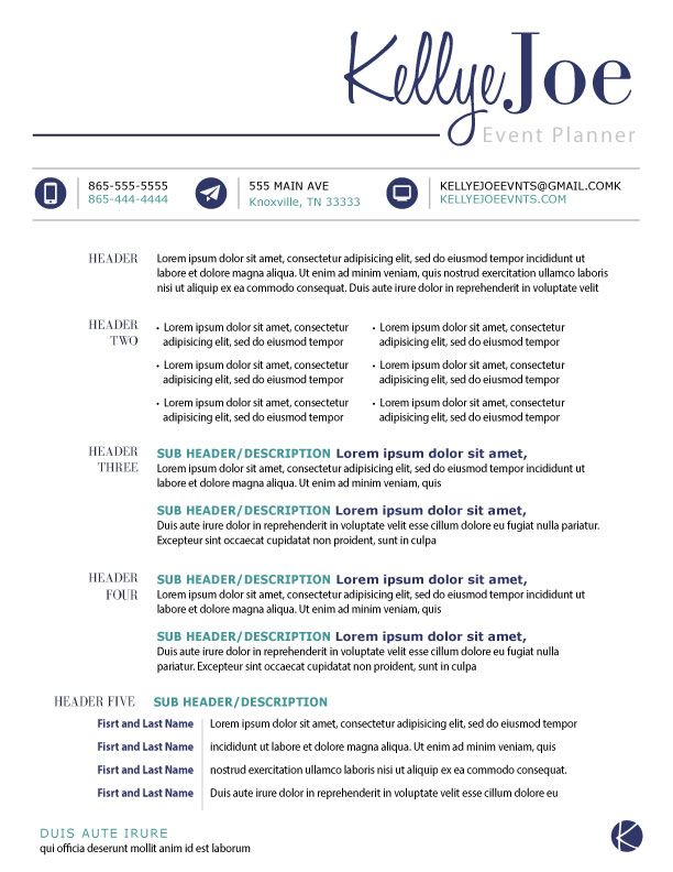 Resume I Created For An Event Planner All Information As