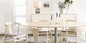 ELLE Decor is giving one lucky winner new modern dining room furniture from Room and Board.<br> <br> Prize includes:<br> Julian table wood top in ash with sand stain<br> Four Evan chairs with fabric seat<br> <br> Dine in style.