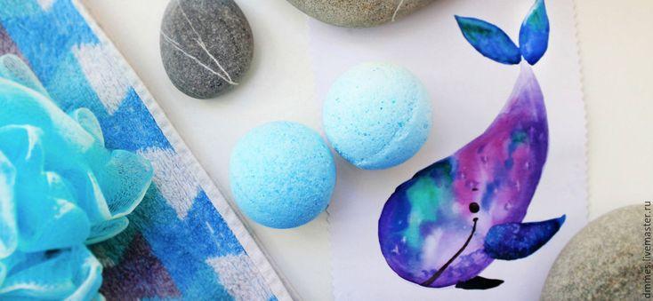 """Купить Бомбочка """"Ментол и мята"""" - голубой, бомбочка для ванны мята, бомба для ванны, гейзер для ванны"""