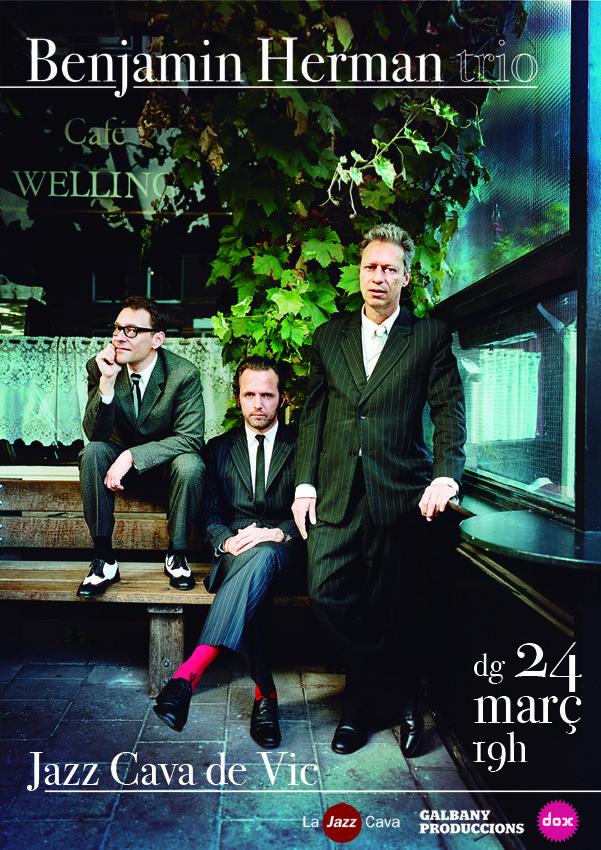 Cartel para la actuación de Benjamin Herman trio en la Jazz Cava de Vic el día 24/03/2013.  Año 201.