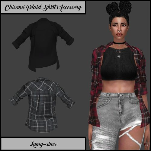 Chisami Plaid Shirt Accessory for The Sims 4